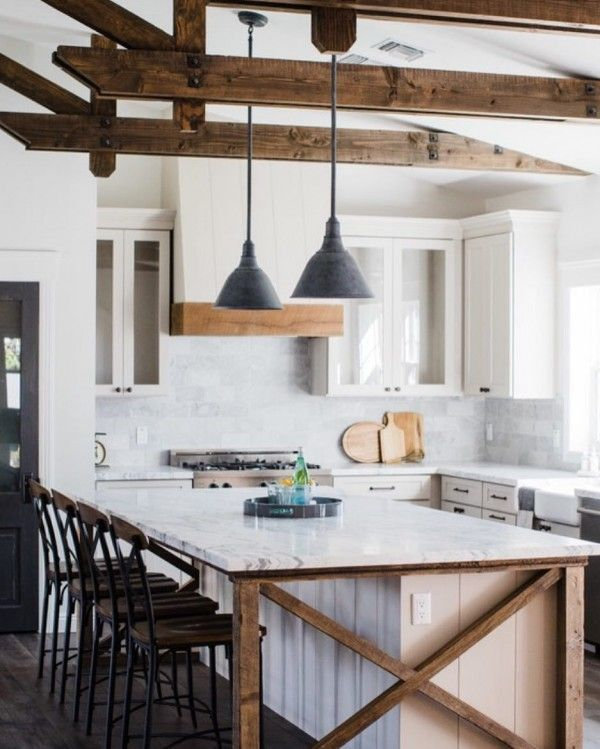 When you have wooden beams like that you have to go all in with #farmhouse or #rustic decor. Love it! #homedecor @istandarddesign