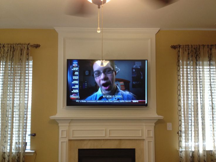 60 quot Vizio smart LED TV over gas fireplace with HDMI cable