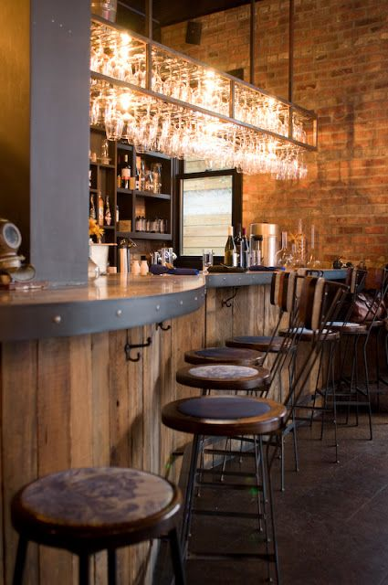 ABOVE BAR GLASS RACK - BRASS  RECLAIMED WOOD BAR - VERTICAL PLACEMENT.   The Castello Plan   Brooklyn