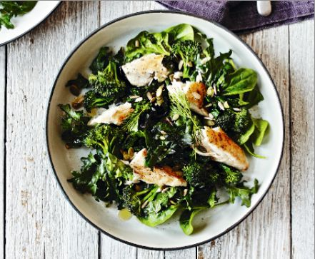 This Mackerel and Super Greens salad is one of our favourite Lola Berry recipes from her new book The 20/20 Diet Cookbook.