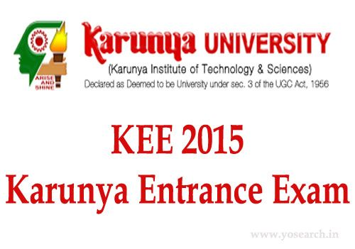 Looking for Karunya University BTech Entrance Exam 2015. Visit Yosearch for All India Karunya Entrance Exam for BTech Programs 2015 Dates Eligibility & more