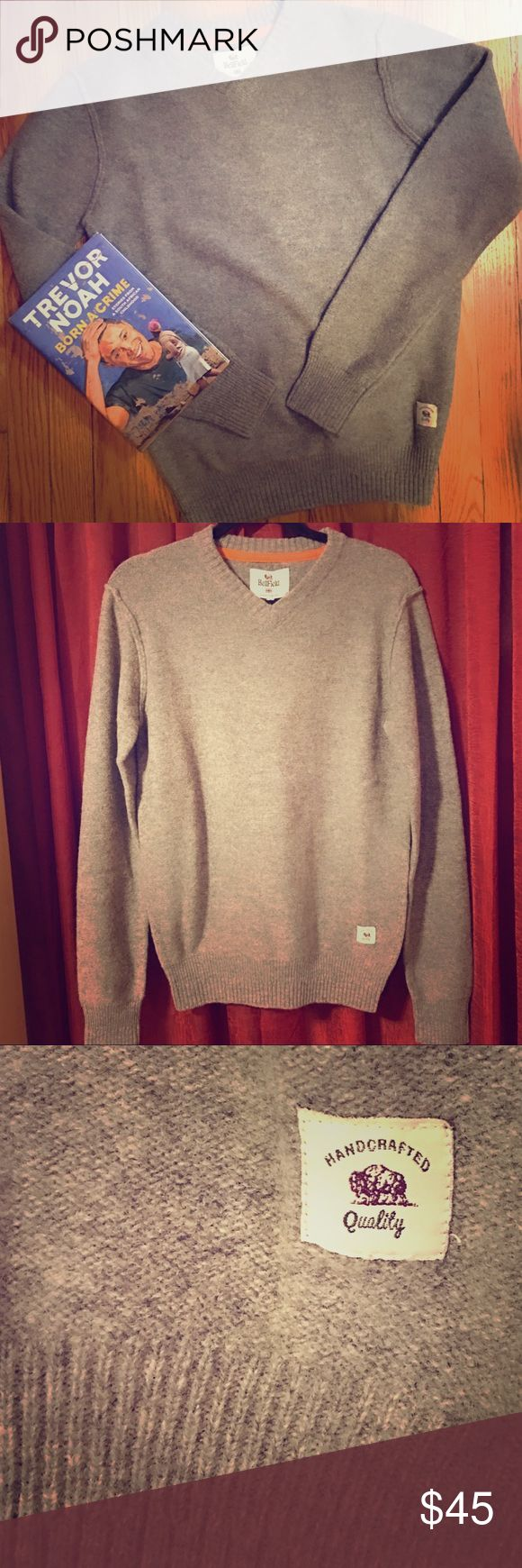 🆕👨🏽Sweater: NWT Gray/Brown Felix Vneck (S) NWT!!! Gray/light brown v neck sweater (S) from Bellfield Clothing Company in Great Britain. Handmade. Ribbed hemline, sleeve cuffs and Vneck trim. Gray/brown color, Lambswool 80%/Nylon 20% blend. Wash w/ similar colors then reshape to dry flat. (Or just dry clean & let someone else do the work?) Original Retail $69.99-$79.99. NWT! Bellfield Sweaters V-Neck