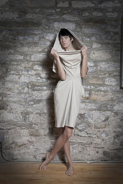 the double t-shirt dress. (2 cotton-poly t-shirts reconfigured into draped dress)
