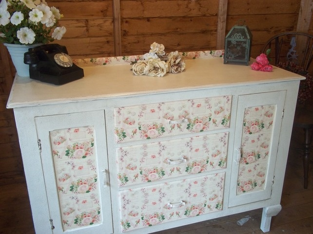 shabby chic chalk white sideboard buffet dresser decoupaged with paris roses project. Black Bedroom Furniture Sets. Home Design Ideas