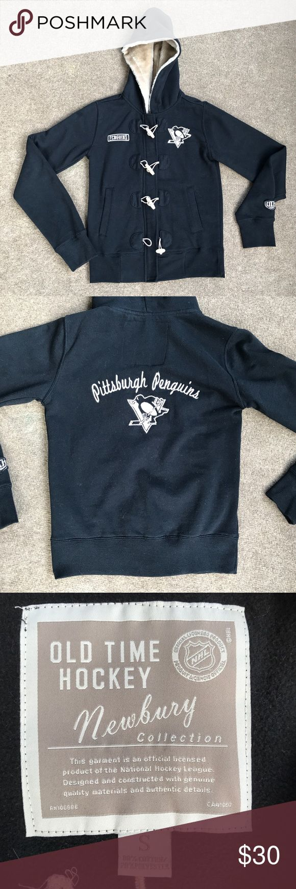 Pittsburgh Penguins Fleece Jacket Old time hockey brand   Size women's small   Sherpa lined hood, zip up fleece jacket with toggles.  Sewn on Penguins logo patches. Pockets.   Great preowned condition. Shows some fuzzies and a tiny bit of wash wear.   Smoke free, cat friendly home. Jackets & Coats