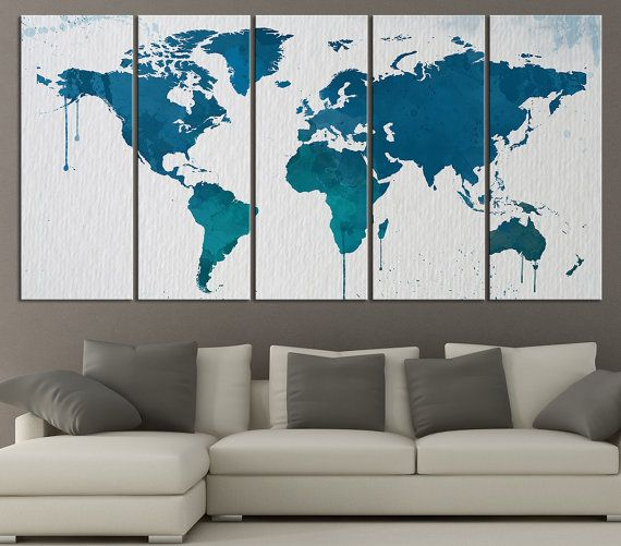 Blue and Turquoise WORLD MAP on Watercolor Paper Texture Canvas Print - Large World Map Canvas Art