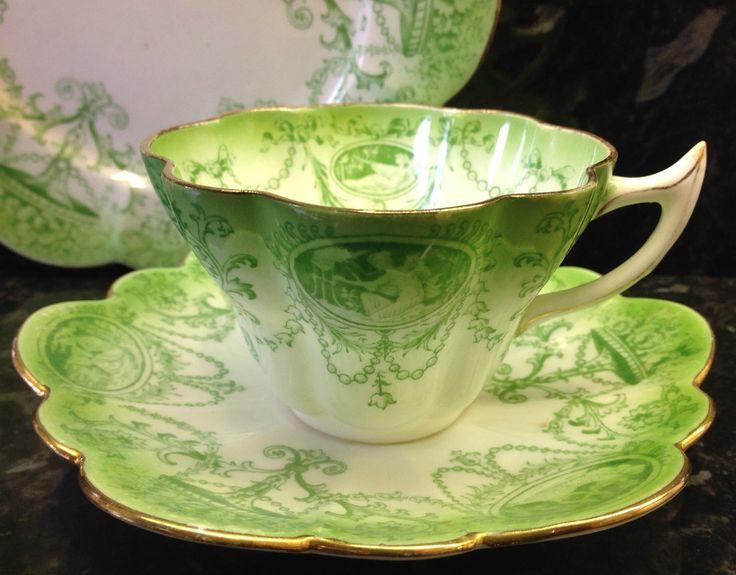 "Wileman Snowdrop Shape Green ""Cameo"" Pattern Tea Cup Trio | eBay"