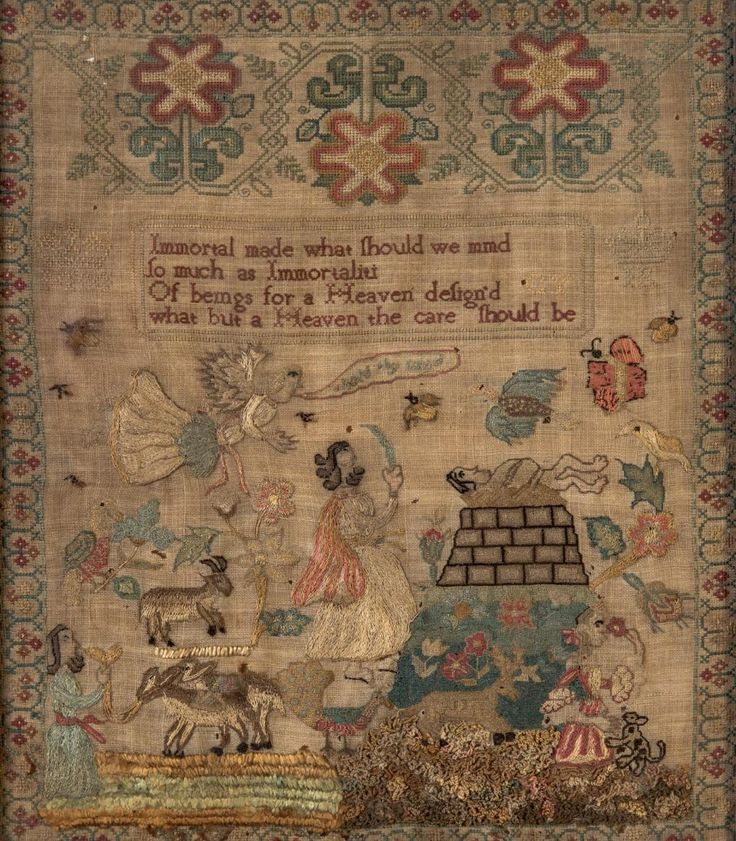A Victorian needlework sampler depicting Abraham sacrificing Isaac and the appearance of an angle, the reverse with a hand written note by Frank Robertson, Melbourne, January, 1895, stating that it was done by his Great Great Grandmother