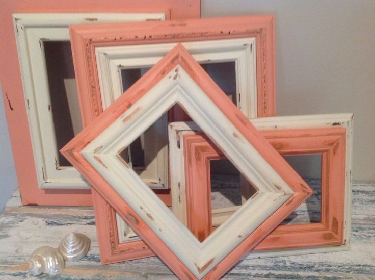 Reclaimed wood frames. Stacked, distressed & painted.