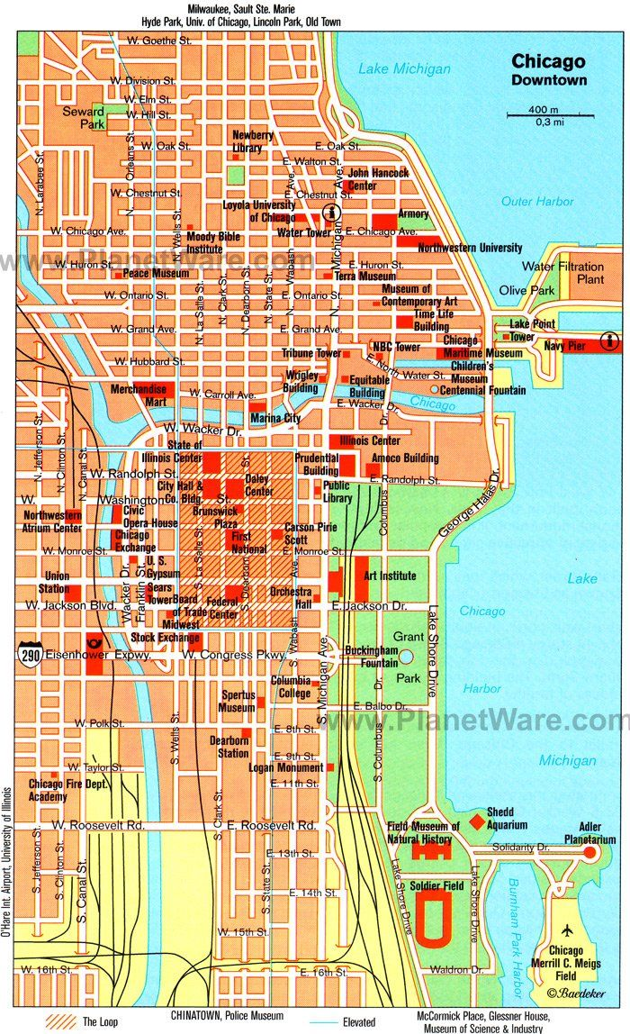 photograph regarding Printable Maps of Chicago called Chicago Downtown Map - Vacationer Points of interest Chicago Calendar year