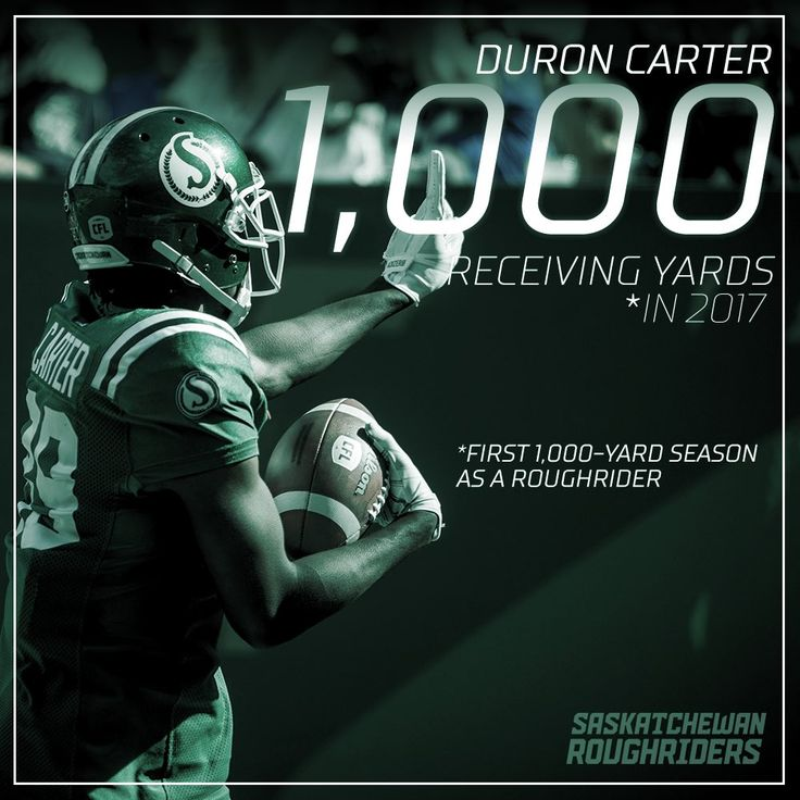 "Sask. Roughriders on Twitter: ""Hey, Mr. Carter:  For the first time as a Rider, Duron Carter has eclipsed the 1k reception yards mark in a single #CFL season.  #RiderPride https://t.co/Zqn4qRRTnM"""