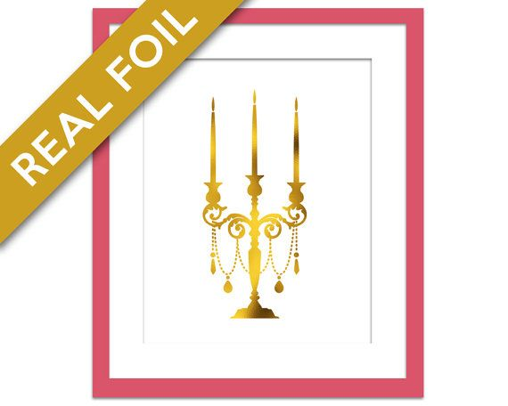 Candelabra Print - Gold Foil Print - Kitchen Wall Art - Candelabra Silhouette - Dining Room Decor - Gold Candle Poster - Gold Silver Copper