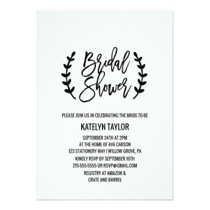 #invitations #wedding #bridalshower - #Chic White Black Olive Branches Bridal Shower Card