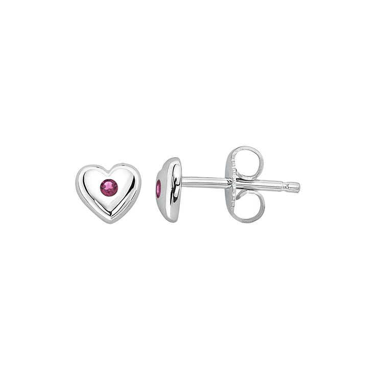 Little Diva Diamonds Kids' Sterling Silver Lab-Created Alexandrite Heart Stud Earrings, Women's, Pink