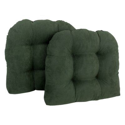 Blazing Needles Microsuede U-Shaped Indoor Chair Cushion - Set of 2 Hunter Green - 93184-2CH-MS-HG