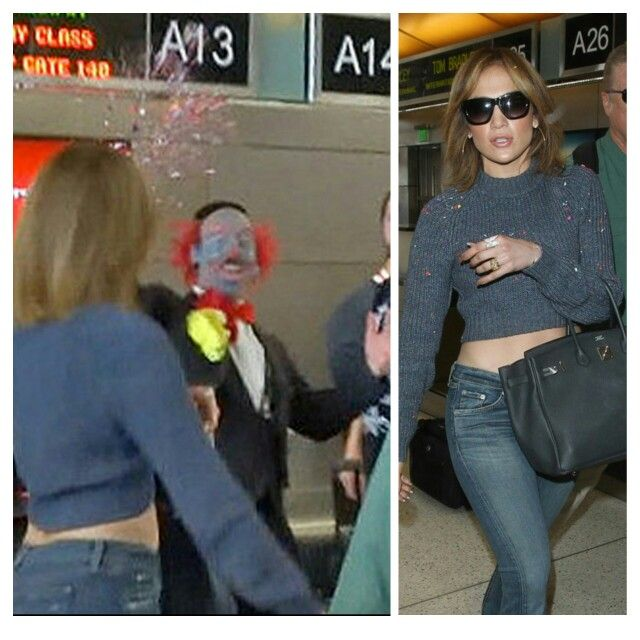 Richie the barber throwing confetti at JLo in LAX.