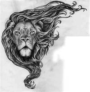 This lion tattoo drawing is an amazing mixture of femininity & strength!