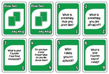 Conversation Starters game (Plays like UNO)... by Miss V's Speech World | Teachers Pay Teachers