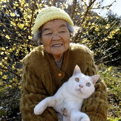 Misao and her cat Fukumaru
