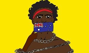 26 January is alternately known as Australia Day, Invasion Day and the Day of Mourning. @IndigenousX host Pekeri Ruska reflects on what this date means to her and her people - An Aboriginal man in chains with an Australian flag taping his mouth shut.