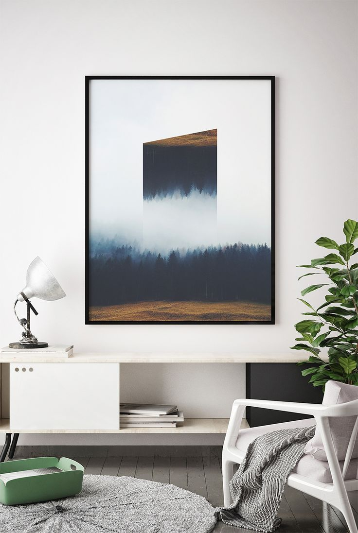 Abstract Indigo Forest Printable Wall Art, Abstract Indigo Landscape Poster, Minimalist Navy Blue Artwork, Modern Home Decor, Gift for Him