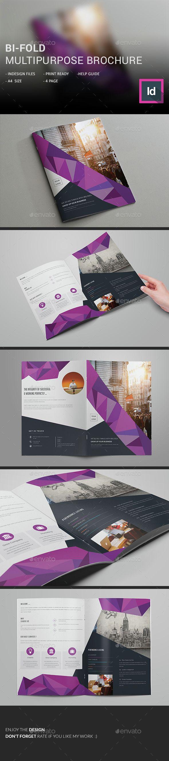 Bi-Fold Multipurpose Brochure Template InDesign INDD. Download here: http://graphicriver.net/item/bifold-multipurpose-brochure/15284043?ref=ksioks