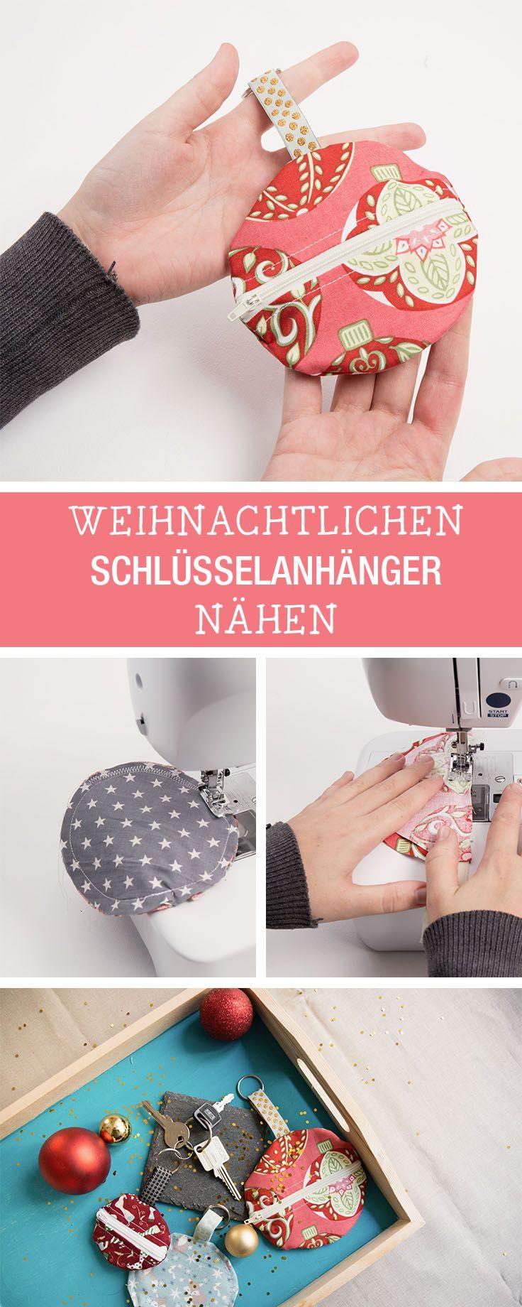 Nähanleitung für eine Schlüsseltasche in Weihnachtsoptik, Schlüsselanhänger / diy sewing tutorial for a key chain bag via DaWanda.com