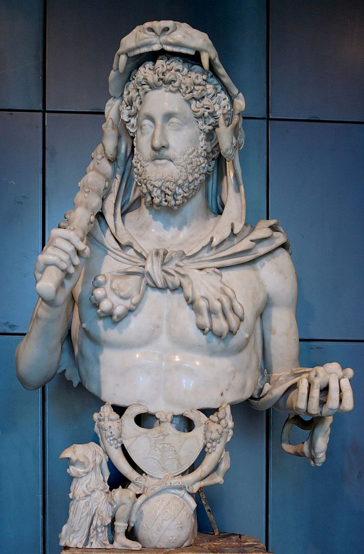 3. Бюст Коммода как Геркулес (Антонина периода)192 г. н. э., мрамор, Капитолийские музеи, Рим