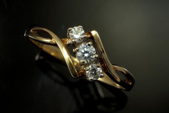 9k Gold Engagement Ring  Cubic Zirconia Dress by BelmontandBellamy