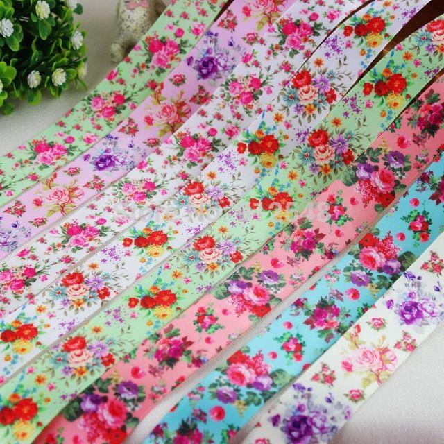 14122010, 22mm kwiaty seria wysokiej jakości drukowane wstążka poliestrowa 8 style mix, Materiały diy handmade, Prezent ślubny wrap