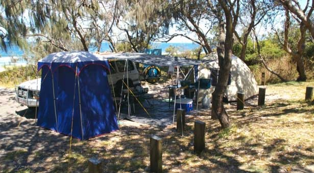 Bribie Island Recreation Area offers a variety of coastal camping experiences, some accessible by 4WD vehicle, others accessible by boat. Camping permits are required and fees apply.