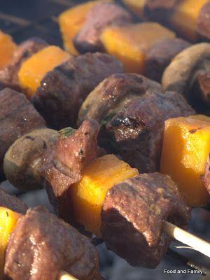 Ostrich Fillet and Butternut Kebabs  on the braai