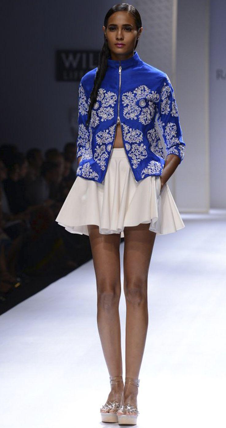 Pvc skirt by RAHUL MISHRA. http://www.perniaspopupshop.com/wills-fashion-week/rahul-mishra #fashionweek #willslifestyleindiafashionweek