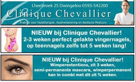 Banner veranderd voor BYAS Drenthe is onderdeel van Clinique Chevallier. NIEUW bij Clinique Chevallier! 2-3 weken perfect gelakte vingernagels, op teennagels zelfs tot 5 weken lang! Verzorgde langdurig gelakte nagels, die de glans niet verliezen en die NIET afbladeren! Niet meer wachten totdat uw nagellak droog is! Vanaf nu nagels lakken met gellak! http://koopplein.nl/middendrenthe/gebruikers/82197/clinique-chevallier