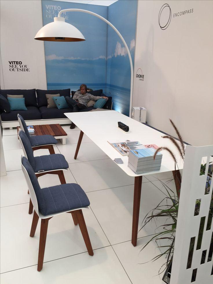Viteo SLIM Modern European Design Garden Dining Furniture, In Corian And  Iroko Hardwood