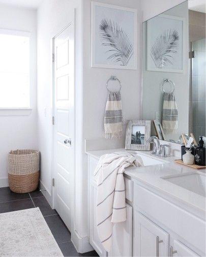 White And Grey Master Bathroom With Coastal Accents Goldcoastcanvas Liketoknow It