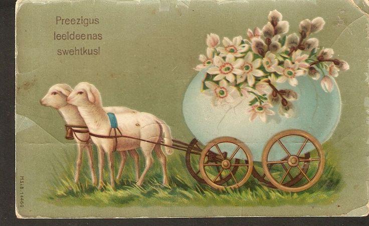 Latvia Easter antique postcard 1910s sheep egg flower pussy willow illustration #Easter