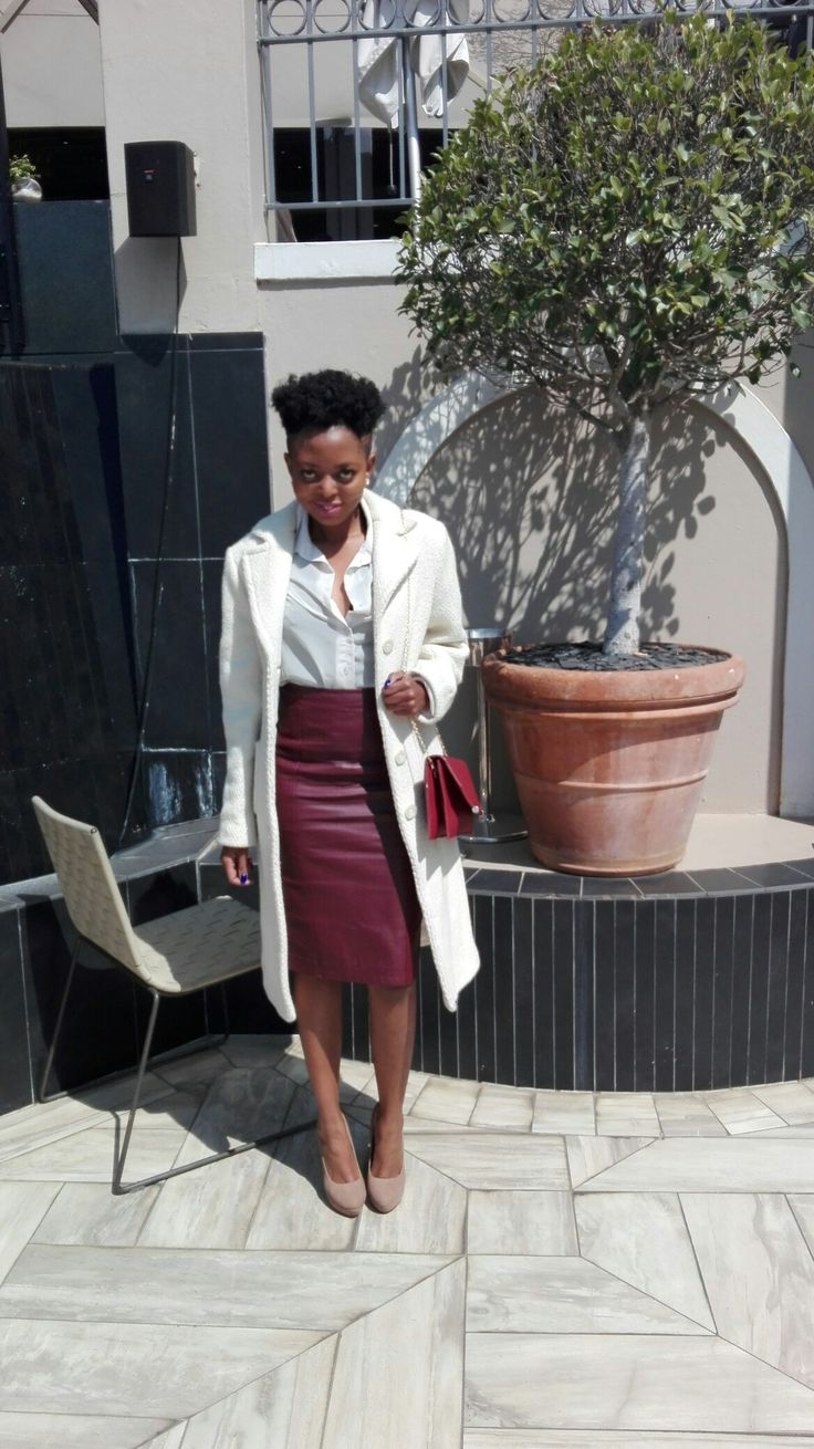 Fun Classy Formal...pencil leather skirt, shirt, coat, clutch, pumps
