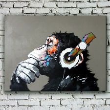 Money Cartoon Oil Painting on Canvas Abstract Animal Wall Art for Home Decor