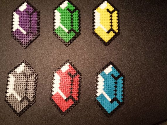 Perler Legend of Zelda Rupee by 8bitcrafting on Etsy