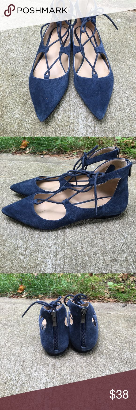 Saks Off Fifth Tie Flats! Worn a handful of times. You can only tell signs of wear from the bottom. Size 8. Awesome blue color in great condition. SUEDE. Saks Fifth Avenue Shoes Flats & Loafers