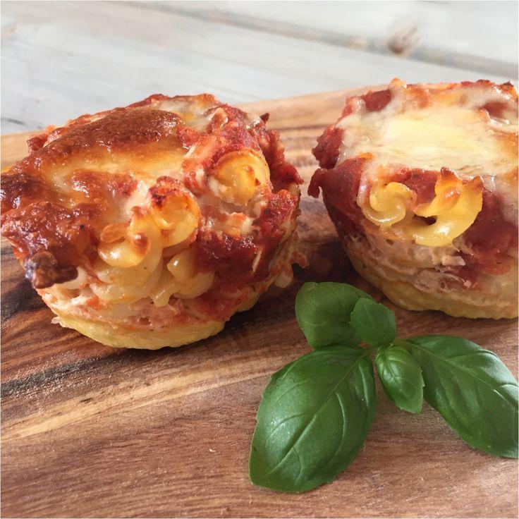 Lasagne muffins. Perfekte til madpakken. Lette at lave, brug resterne fra køleskabet.