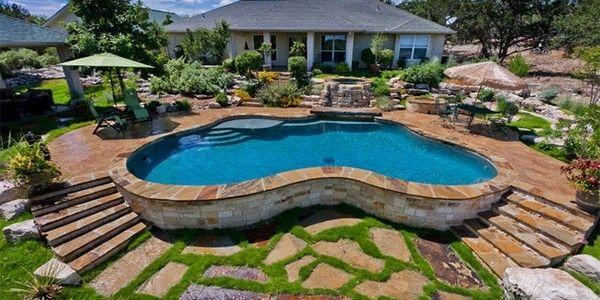 Gentil Simple Swimming Pool Surrounded By A Deck With Pavers | Unusual Swimming  Pools | Pinterest | Swimming Pools And Decking