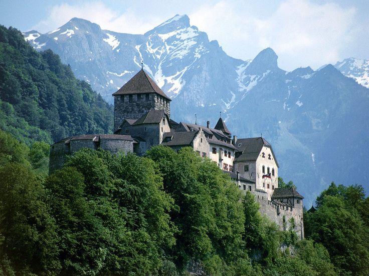 Castle and Swiss Alps, Liechtenstein