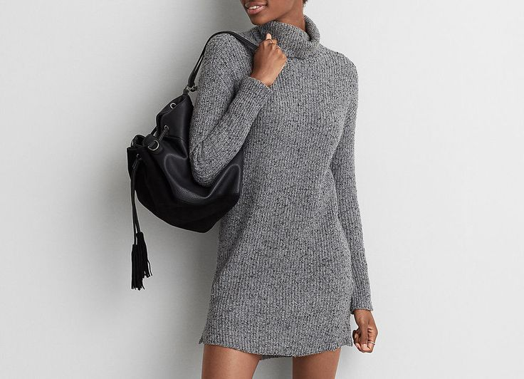 AMERICAN EAGLE AEO Sweater Dress Medium Heather NWT S $59.95 Sold Out  #AmericanEagleOutfitters #TurtleneckSweaterDressTunic #Casual