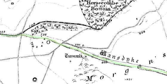 19th century Parish map showing the divergence of Wansdyke and the Roman Road at Morgan's Hill. No sign of the golf course.