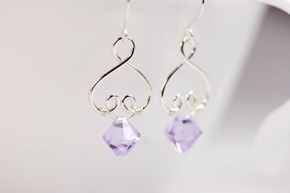 Lavender Swarovski Earrings Wire Wrapped by JessicaLuuJewelry, $30.00
