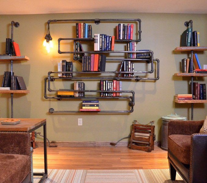 Bookshelf With Pipes.