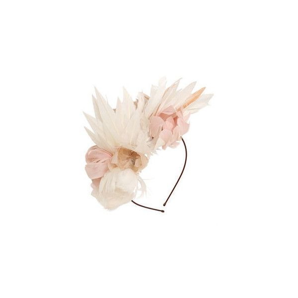 NanÀ Firenze Feather Flowers Headband ($242) ❤ liked on Polyvore featuring accessories, hair accessories, metal hair accessories, thin headbands, hair band headband, flower headbands and feather flower hair accessories