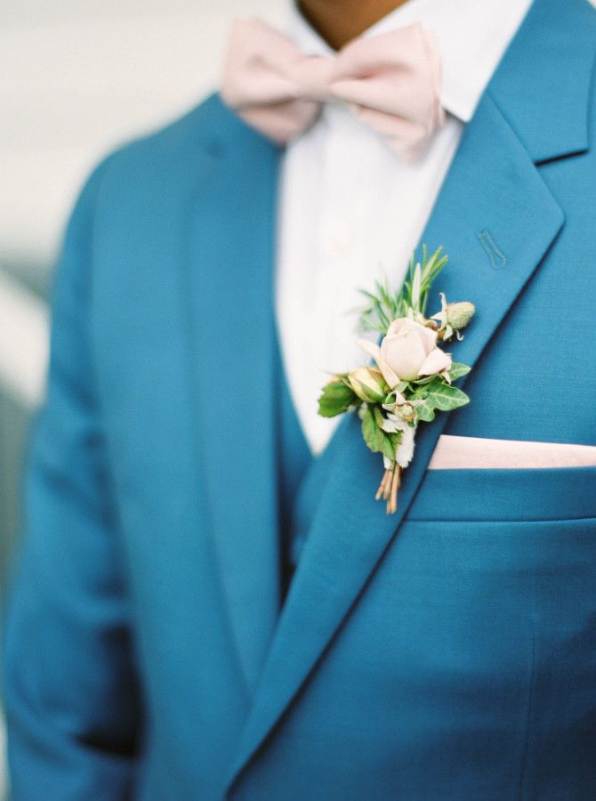 Blue suit and blush bowtie: http://www.stylemepretty.com/2016/04/06/classic-garden-inspired-wedding-in-new-zealand/ | Photography: Maria Lamb - http://marialamb.co/